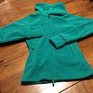 Bench fleece Velcro neck jacket finger holes green